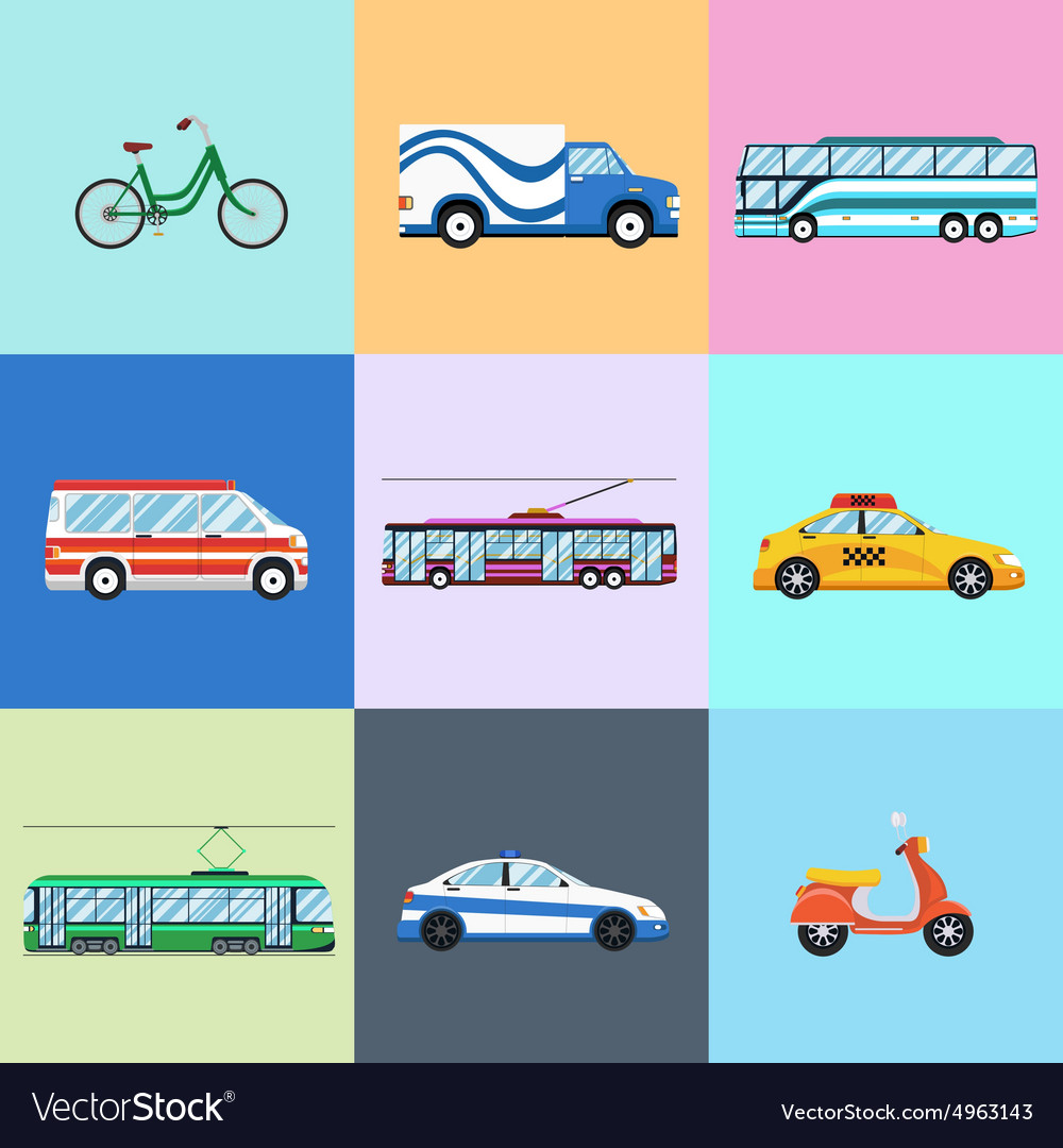 Urban city vehicles icon set vector