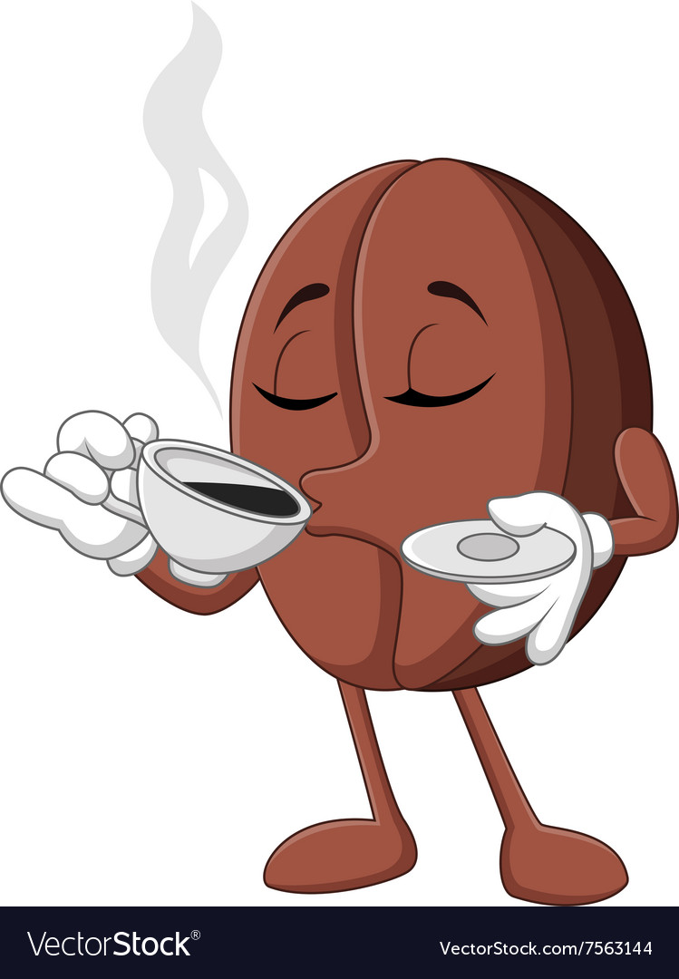 Cartoon funny coffee bean drinking coffee vector
