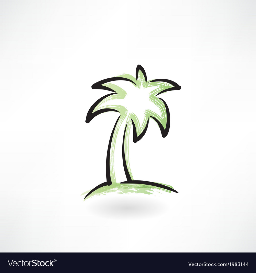 Palm tree grunge icon vector