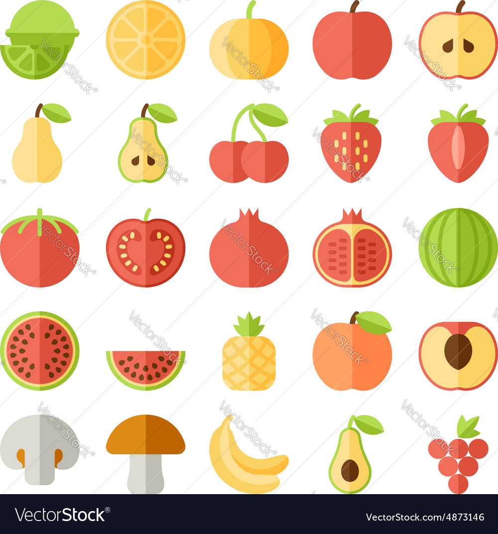 Fruit flat icon set vector