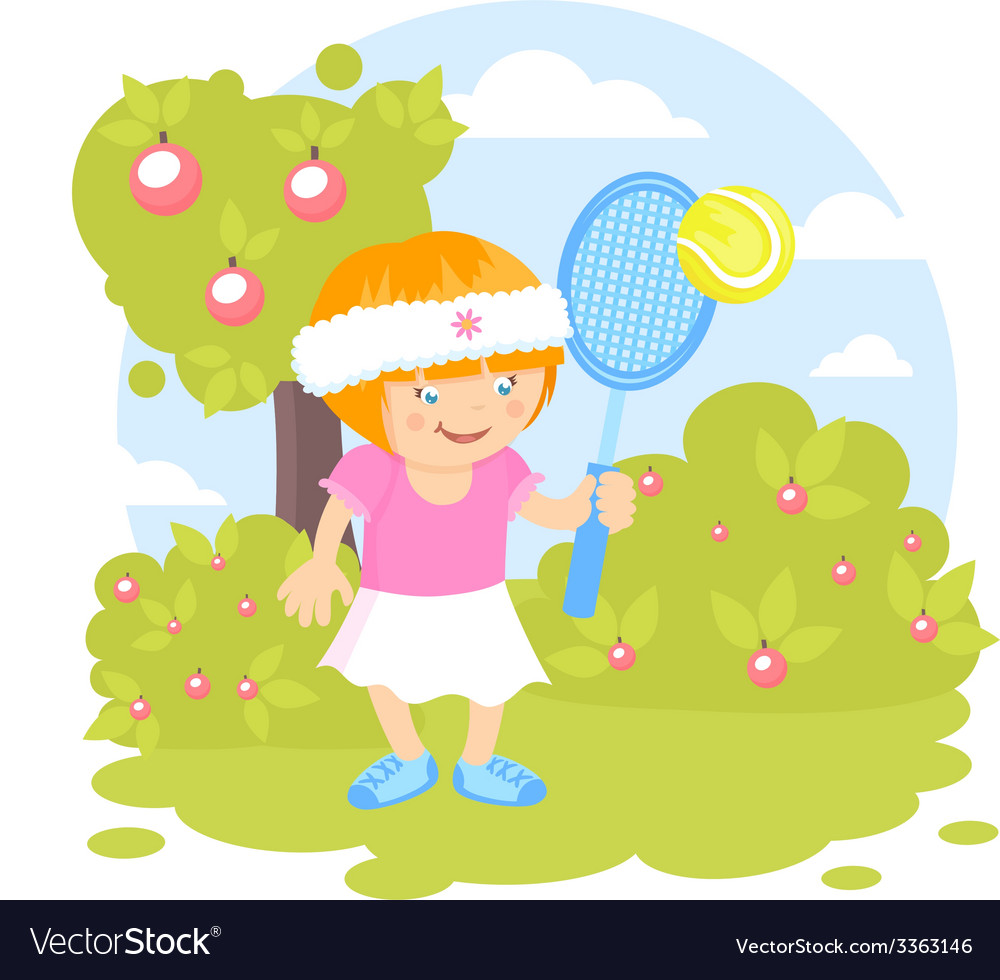 Girl playing tennis vector