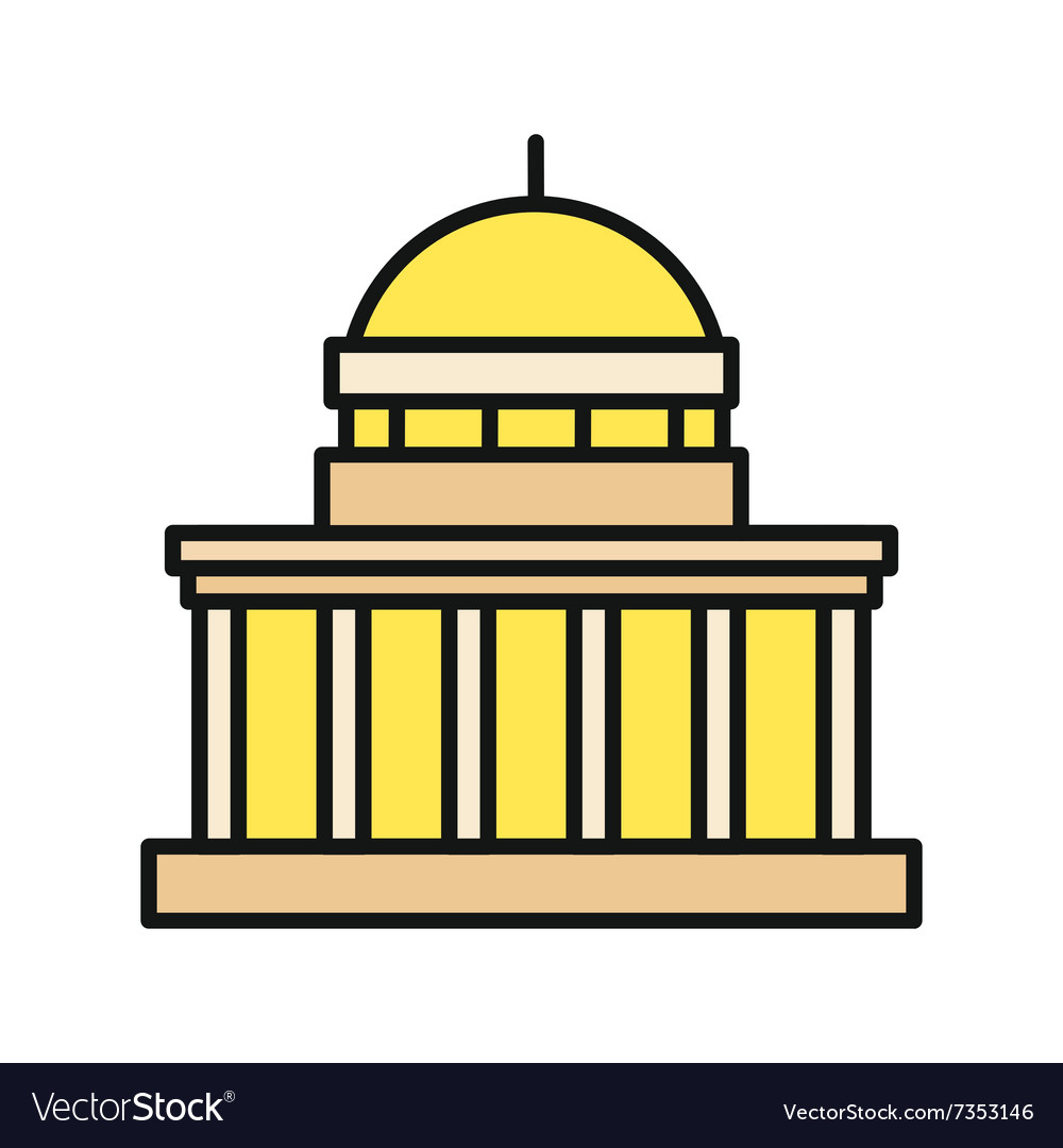 Icon building flat design isolated vector