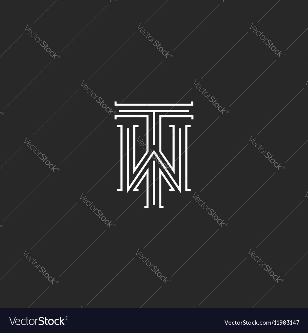Tw letters logo medieval monogram black and white vector