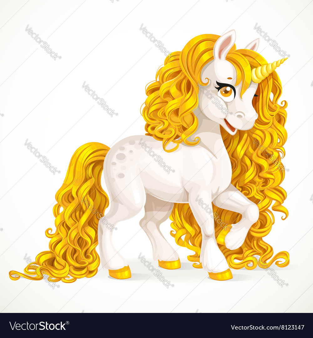 White fabulous unicorn with golden mane isolated vector