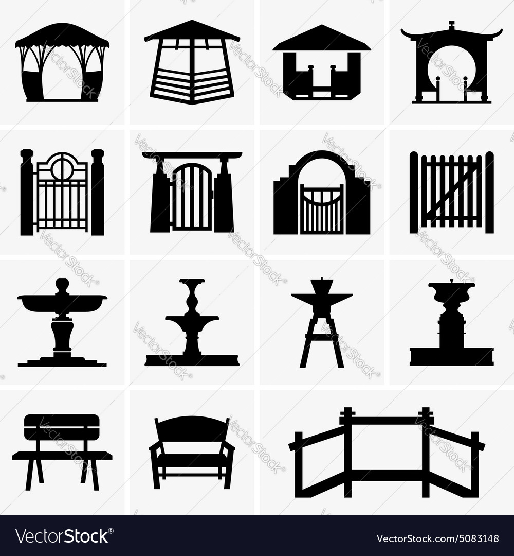 Arbors gates fountains benches vector