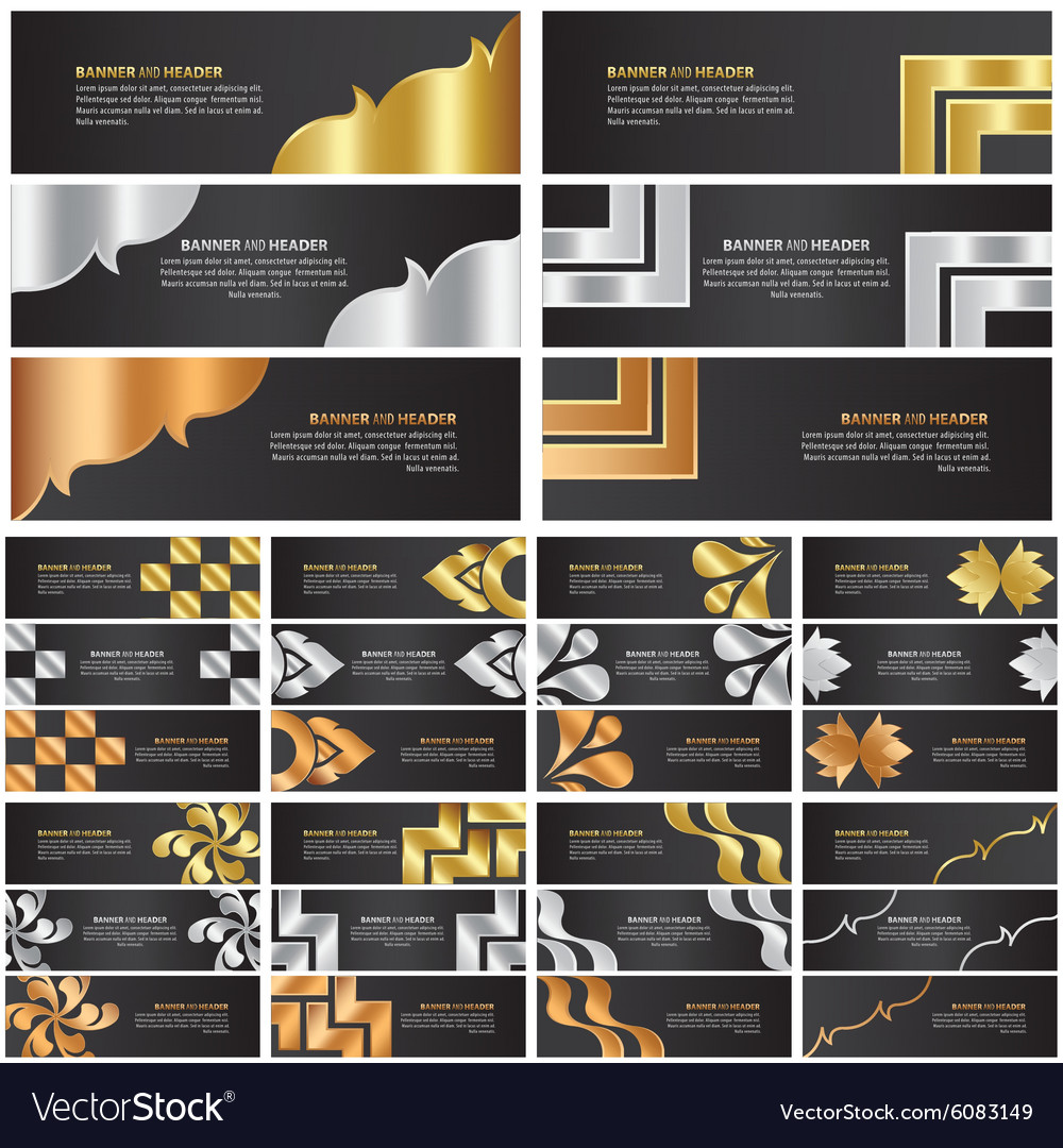 Abstract gold silver and bronze banner template vector