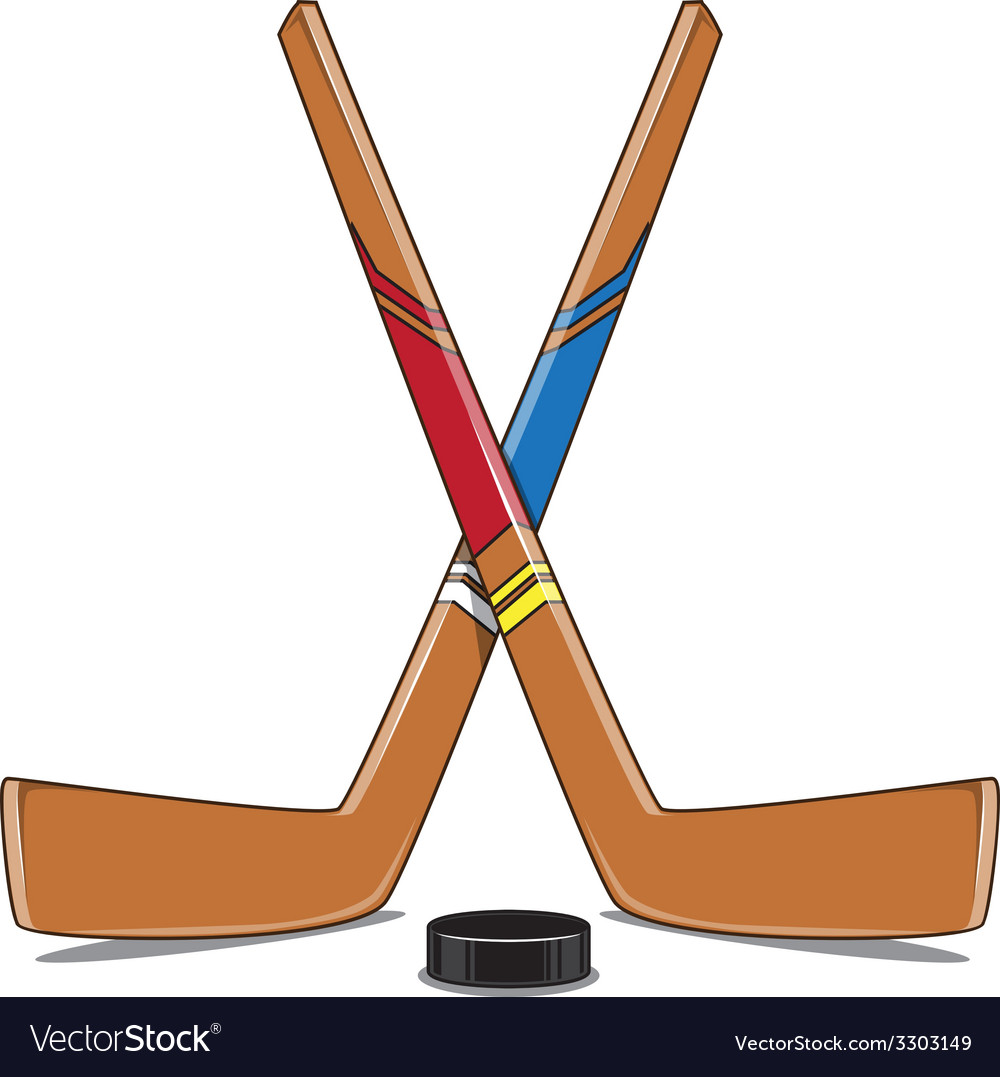 Crossed hockey sticks and puck vector