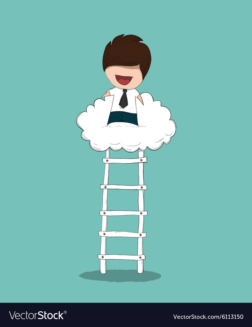 Business man up stairs to successful up cloud vector
