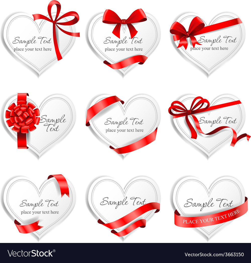 Festive heartshaped cards with red gift ribbons vector