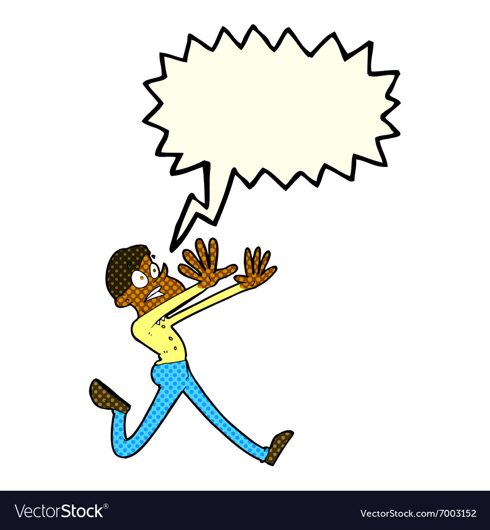 Cartoon man running away with speech bubble vector