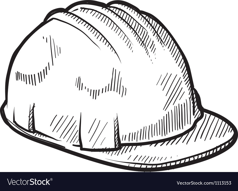 Doodle construction hard hat vector