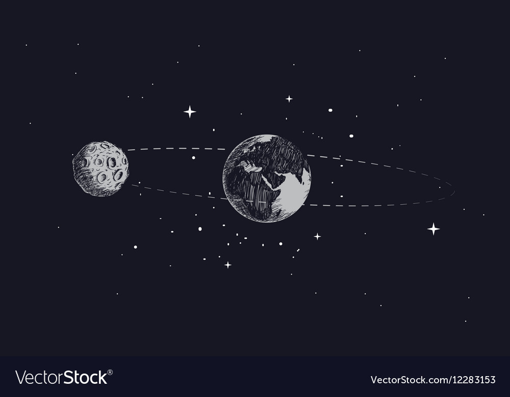 Moon orbits the planet earth in its orbit vector