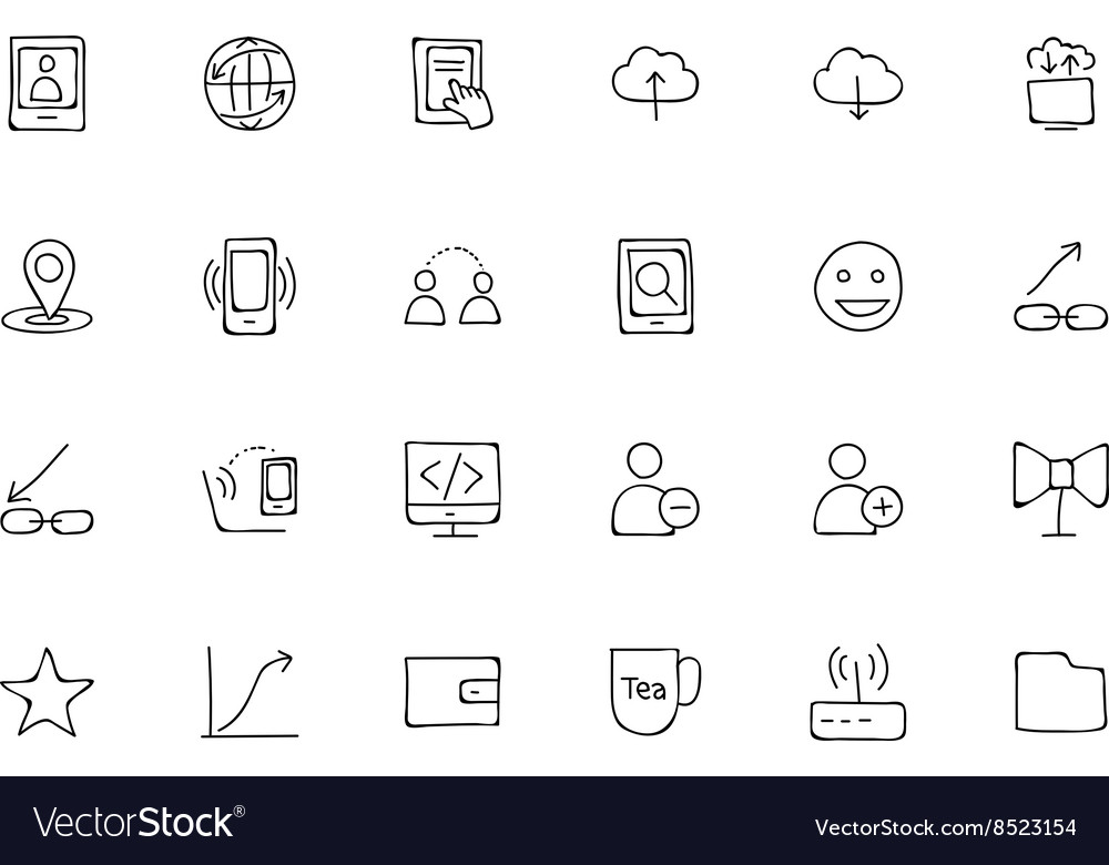 Media hand drawn doodle icons 6 vector