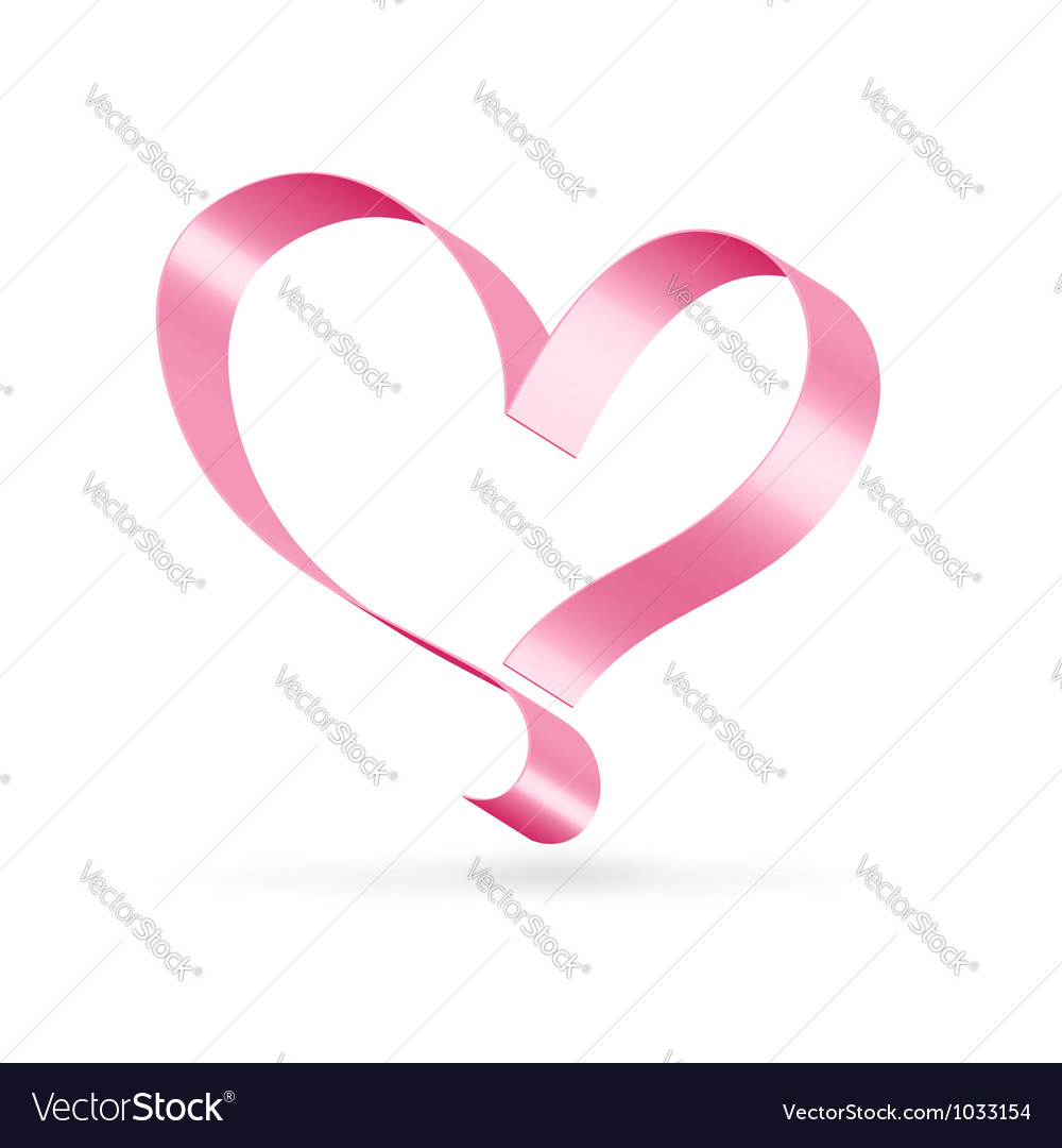 Pink ribbon heart symbol vector