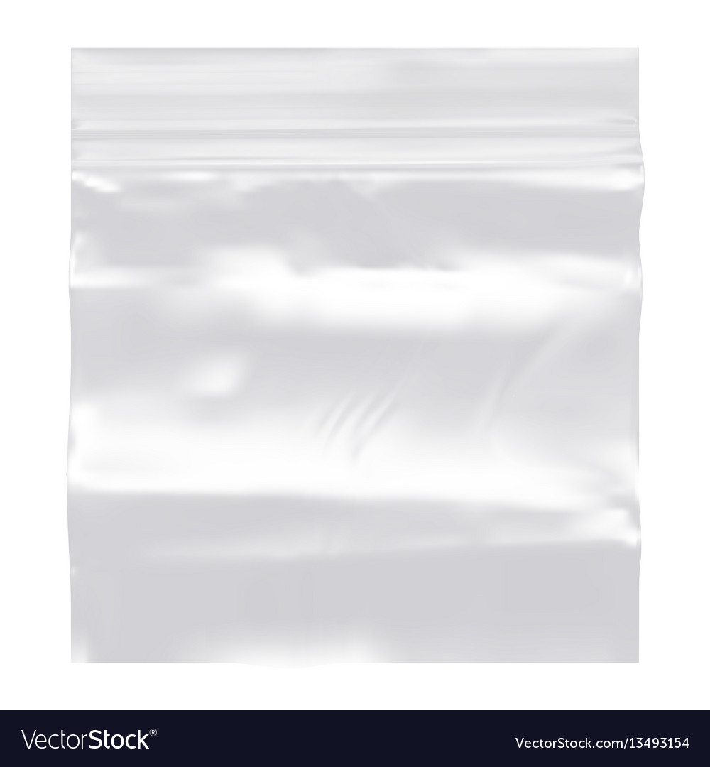 Transparent blank plastic pocket bag with ziplock vector