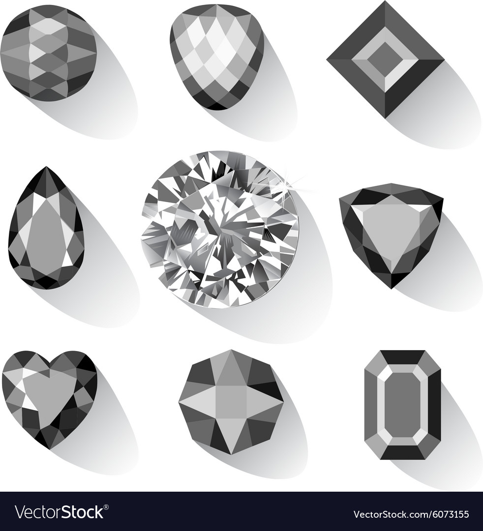 Set of greyscale black gems vector
