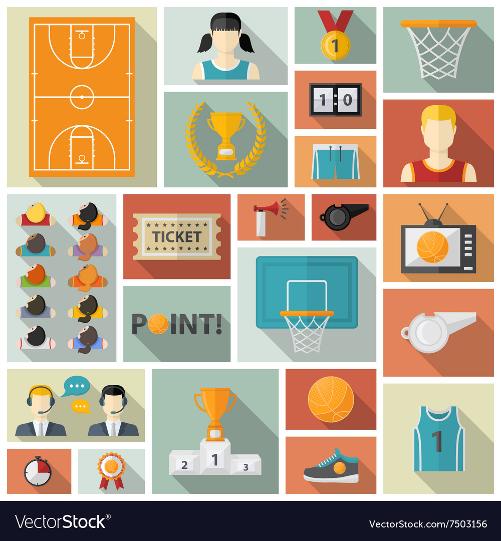 Basketball collection vector