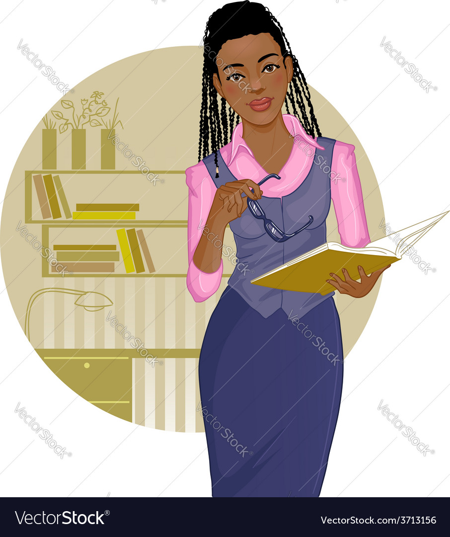 Business woman with journal near desk vector