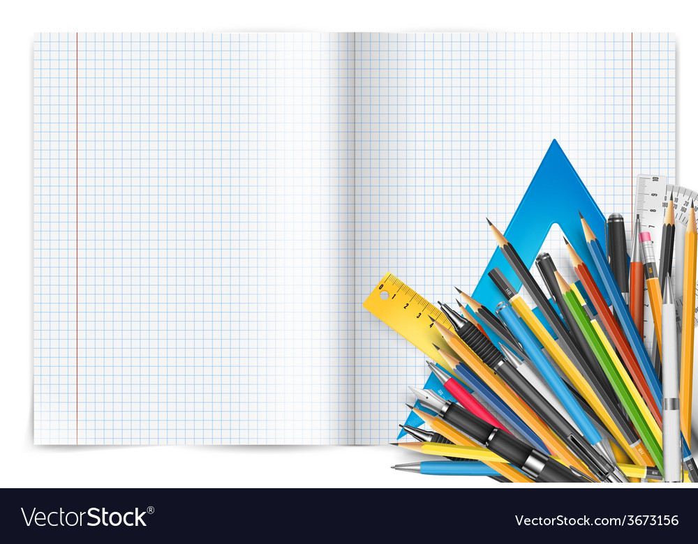Notepad and pens vector