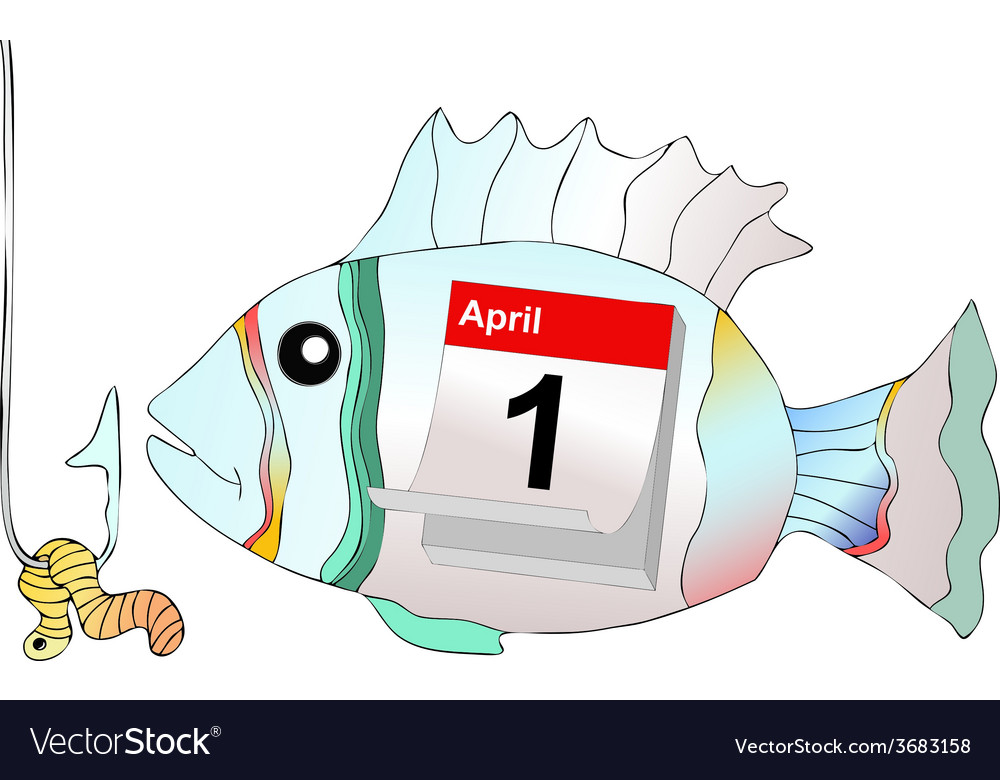 April 1 do not take the bait as a fish at hook vector