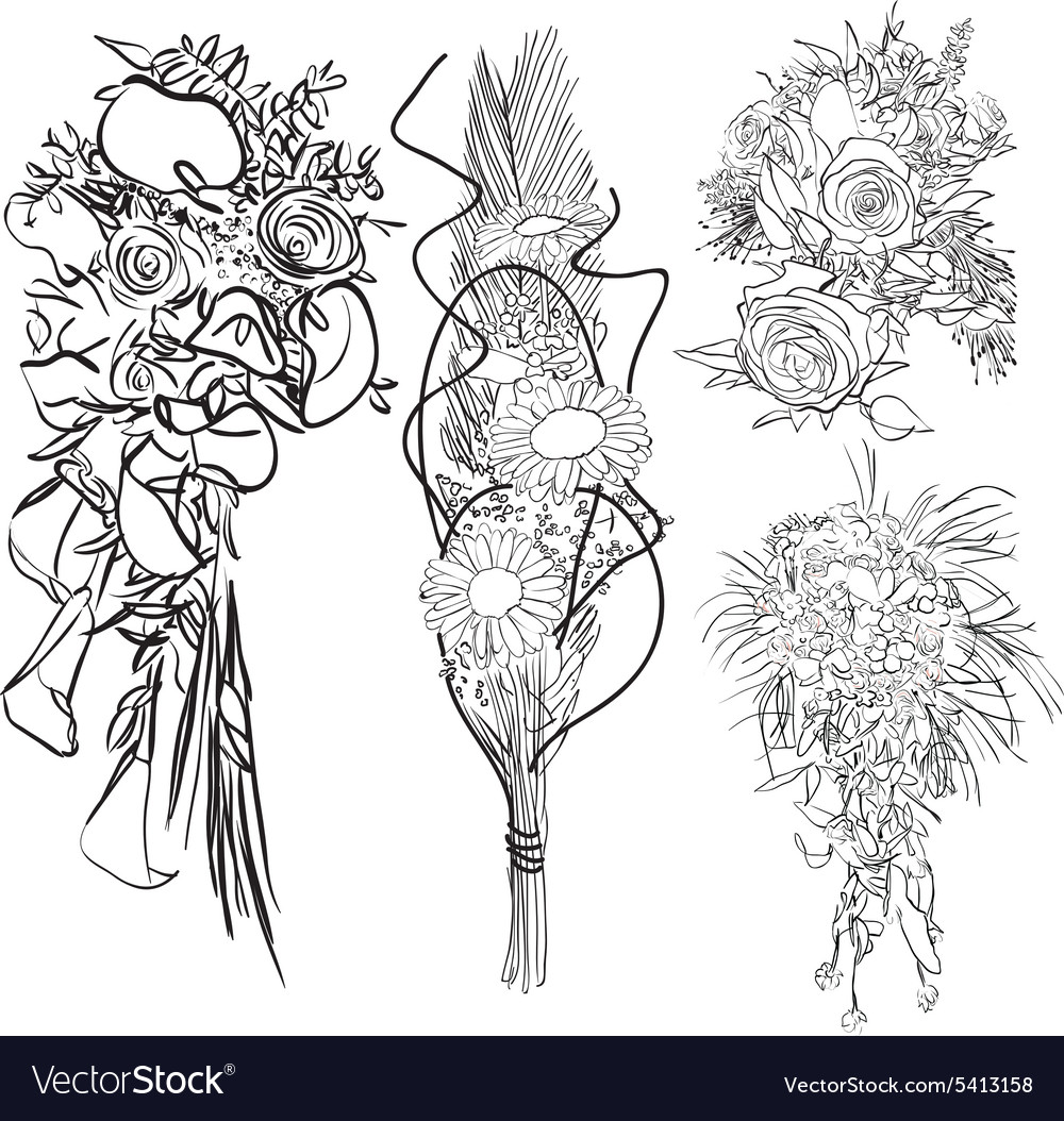 Wedding bouquet set vector