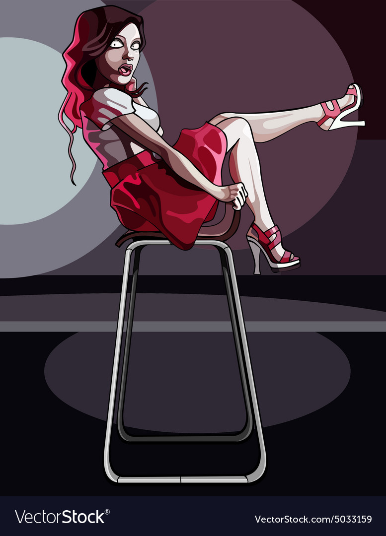 Cartoon woman posing sitting on a chair vector
