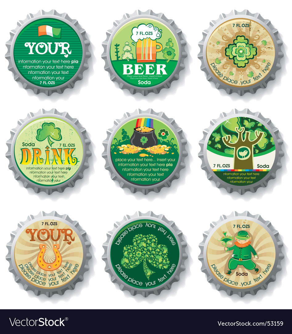 St patricks day bottle caps vector