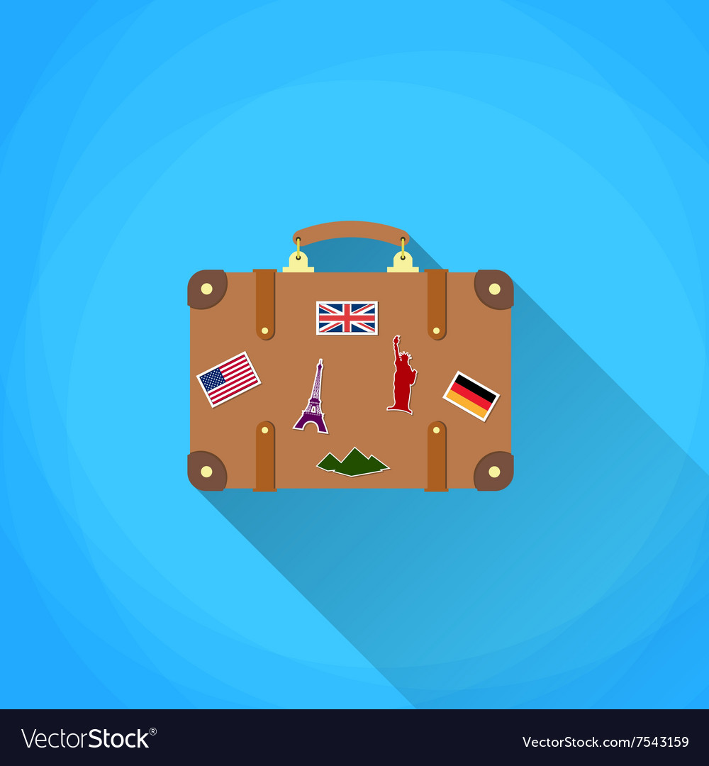 Travel suitcase with funky stickers vector