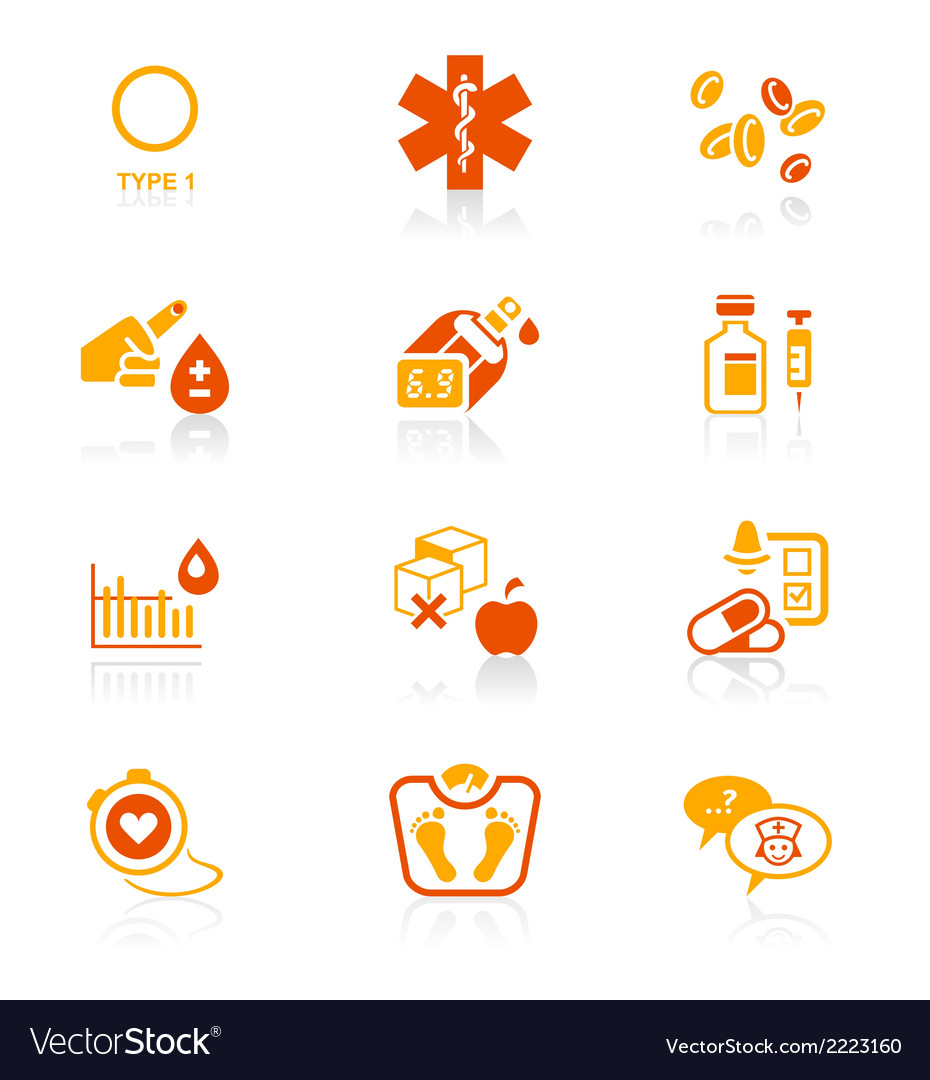 Diabetes icons  juicy series vector