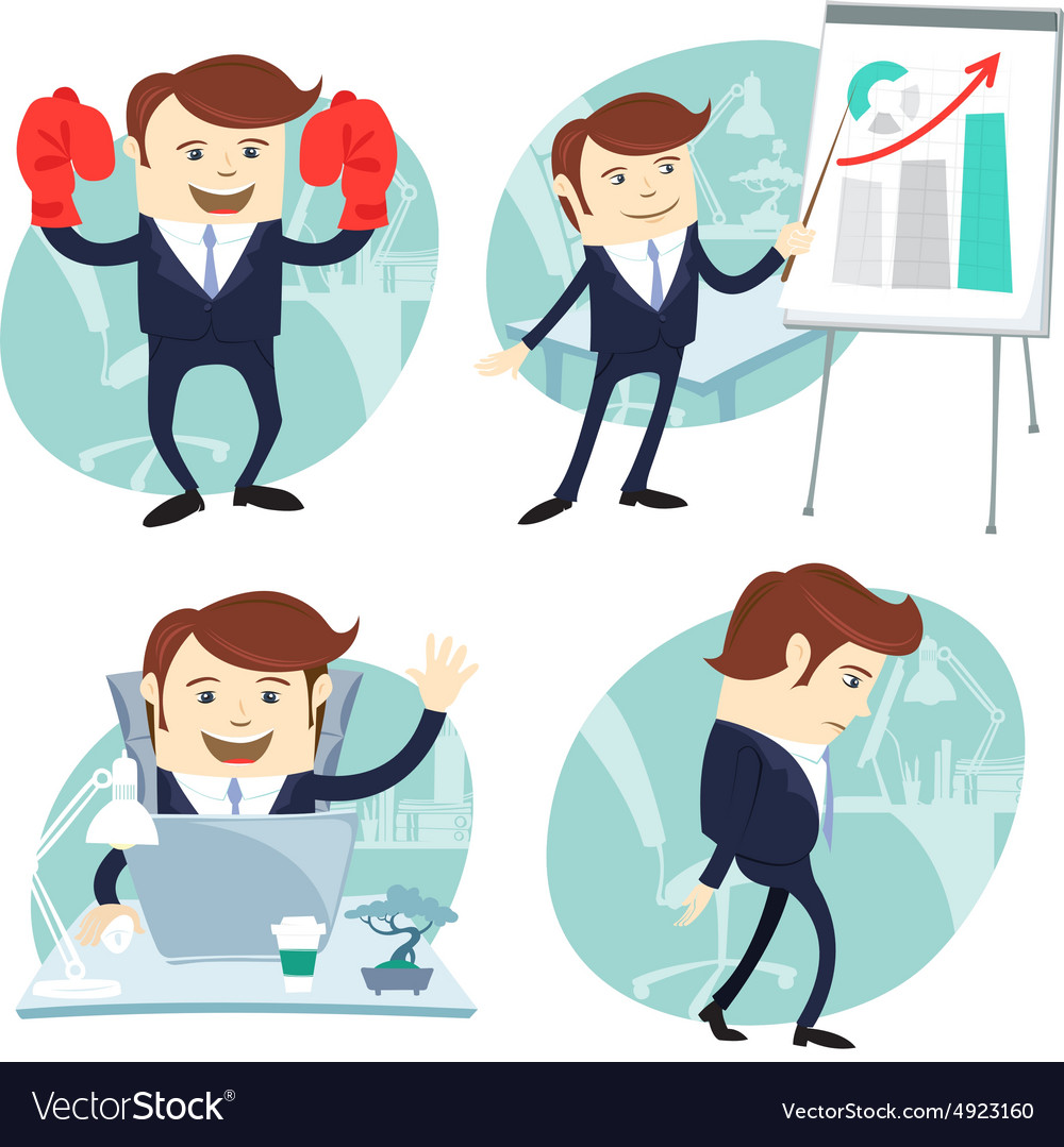 Office man set showing a presentation happy worker vector