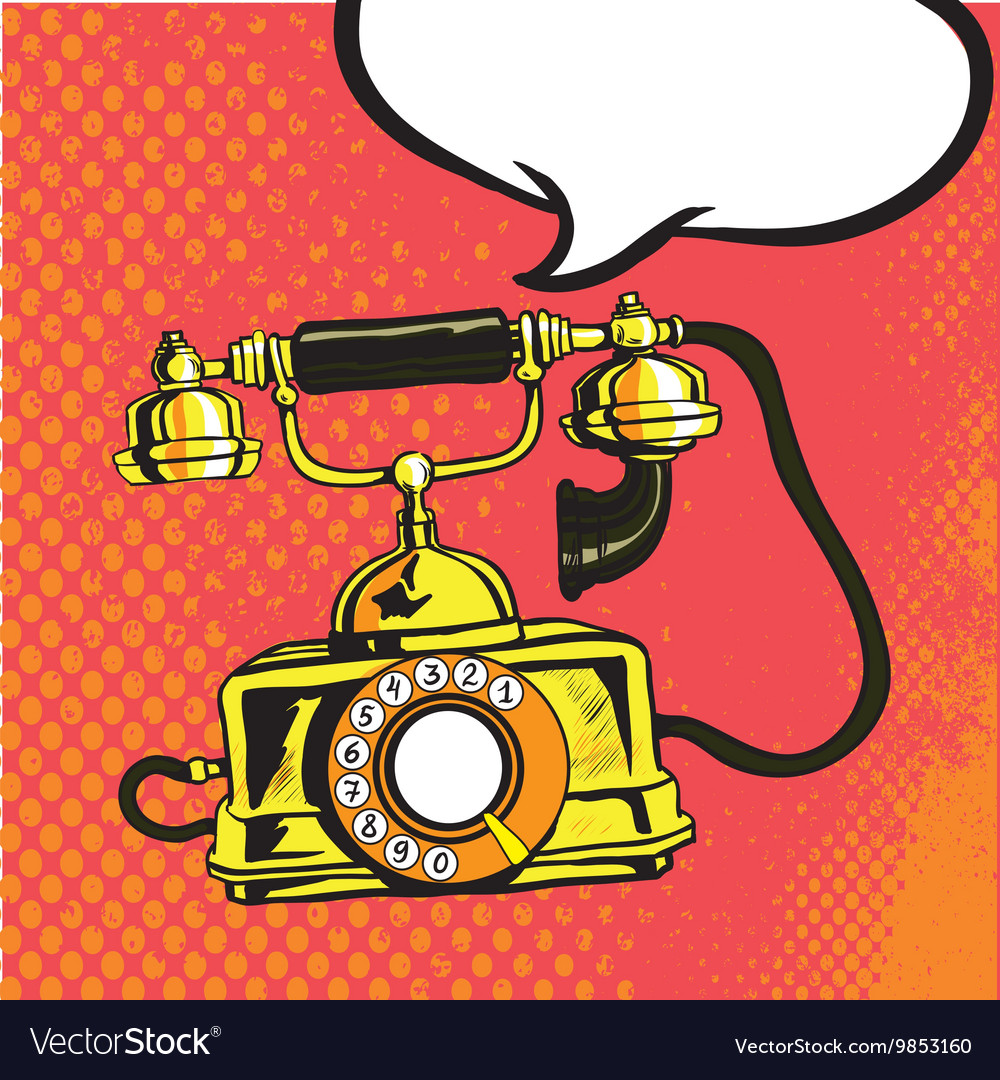 Retro phone ringing in comic vector