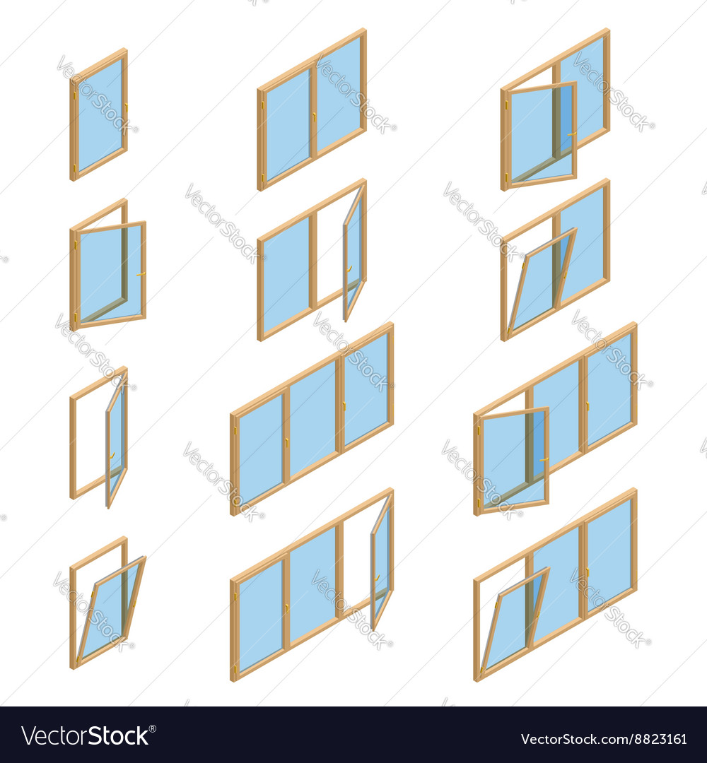 Collection of various windows types for vector
