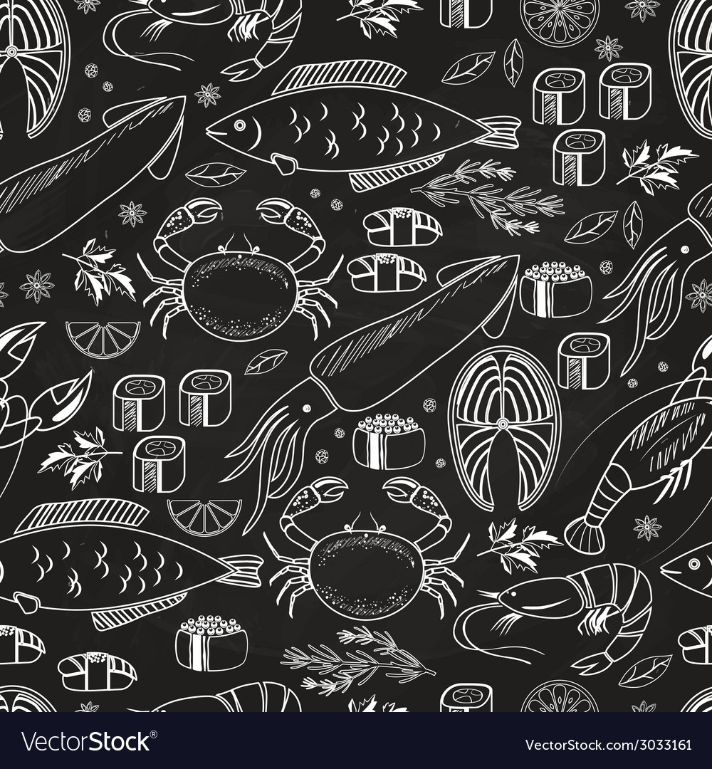 Seafood and fish chalkboard seamless background vector