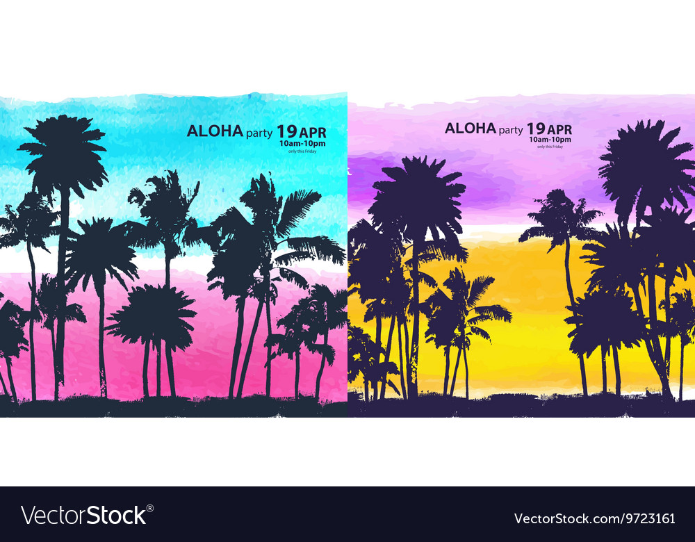 Vintage banners of hawaiian island vector