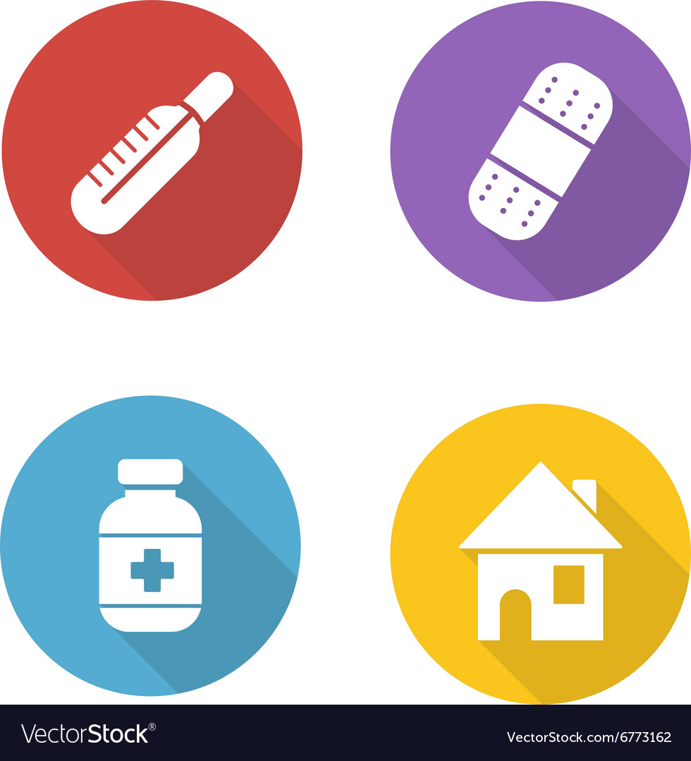 Medical treatment flat design icons set vector