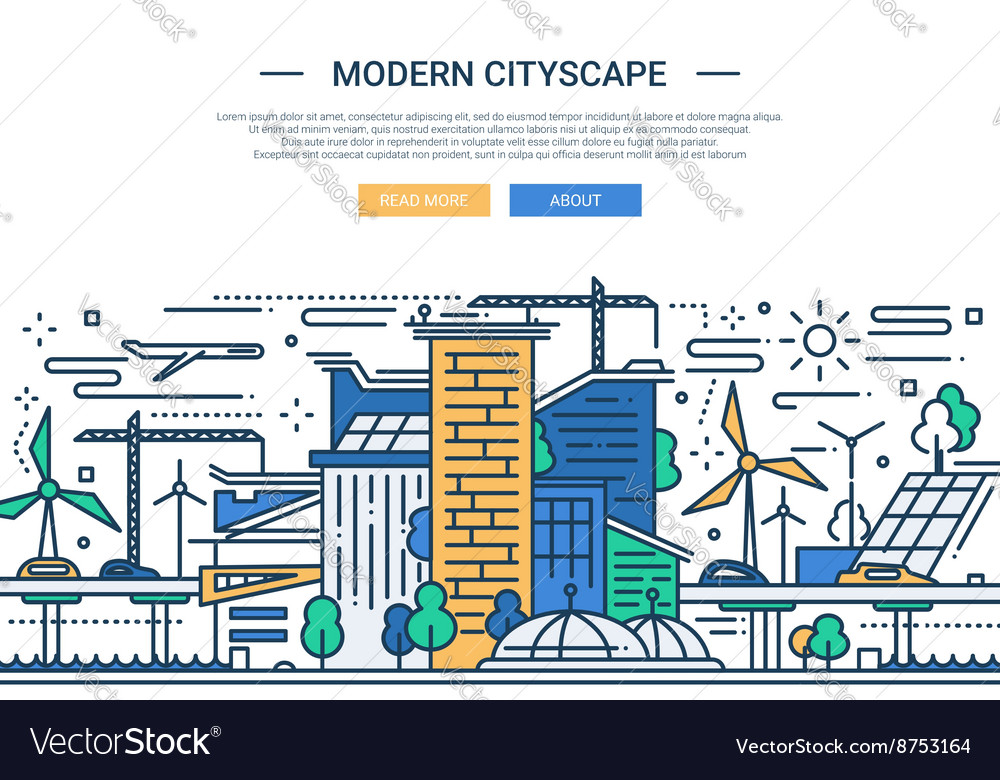 Modern cityscape  line design website banner vector