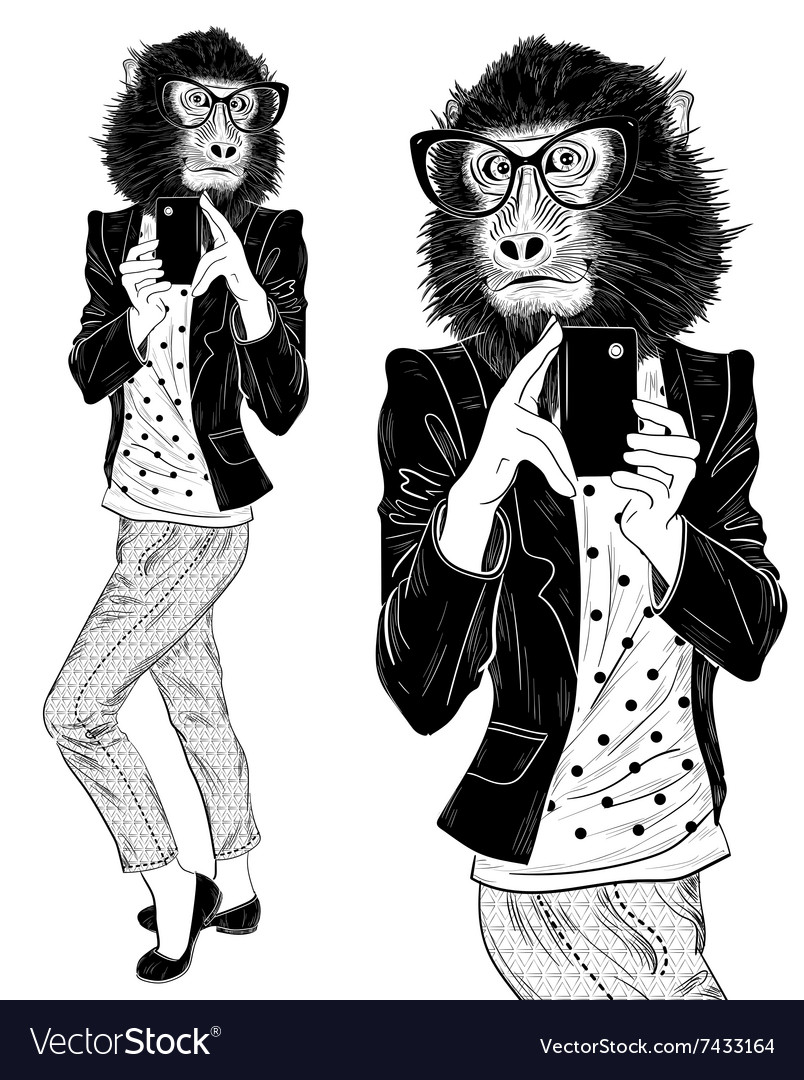 Selfie on smartphone fashion hipster animal monkey vector
