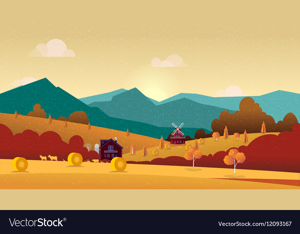 Countryside landscape with hay field and village vector