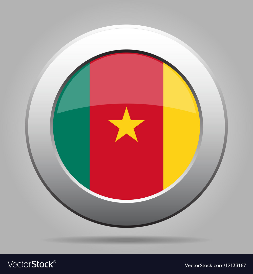 Flag of cameroon shiny metal gray round button vector
