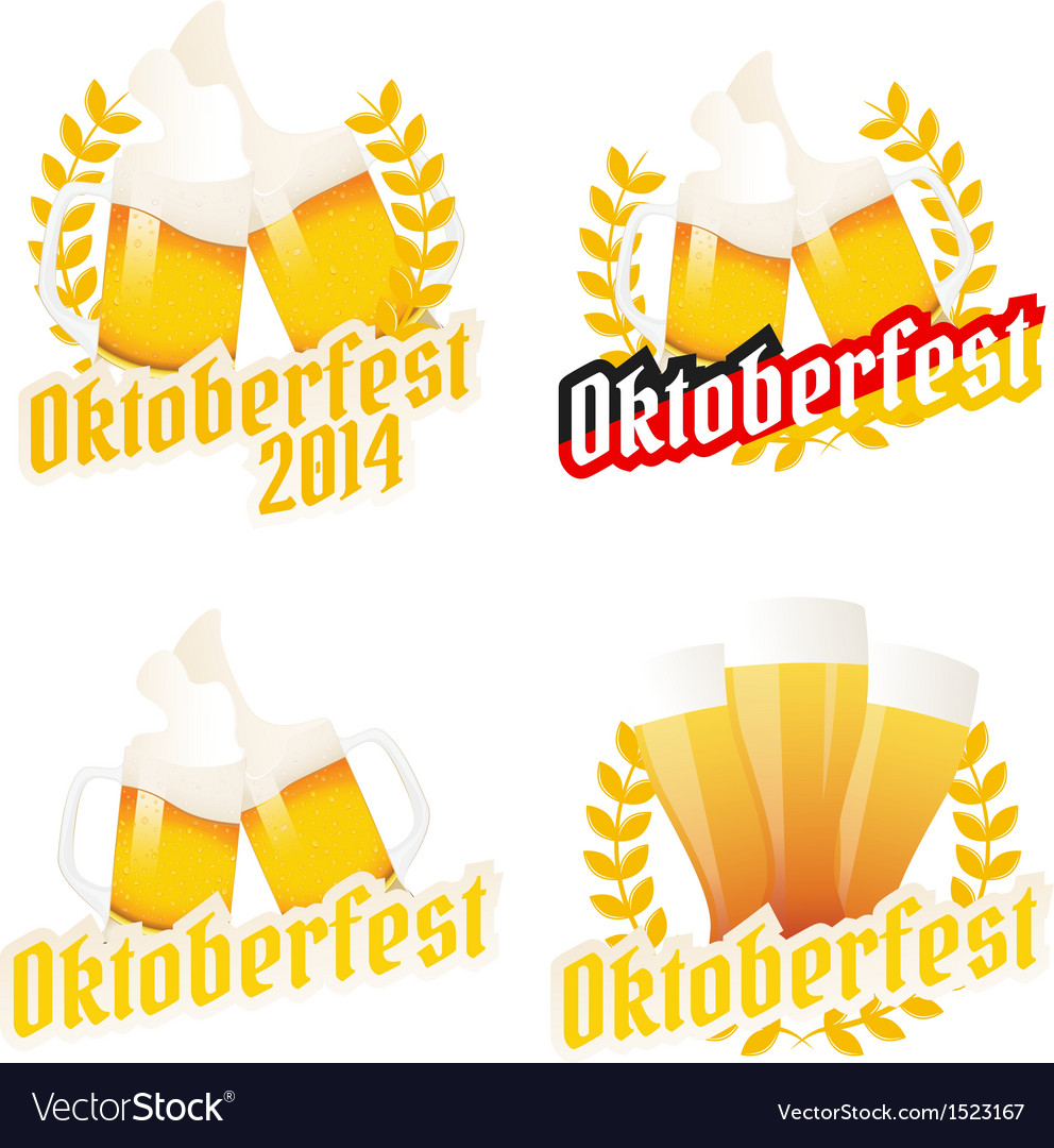 Oktoberfest labels badges and menu elements vector
