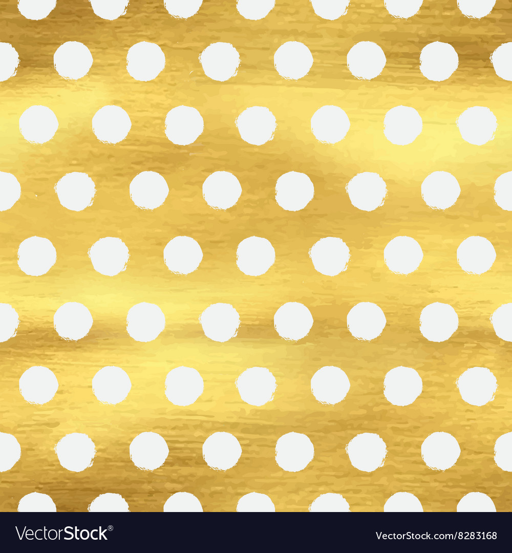 Geometric golden polka dot seamless pattern vector