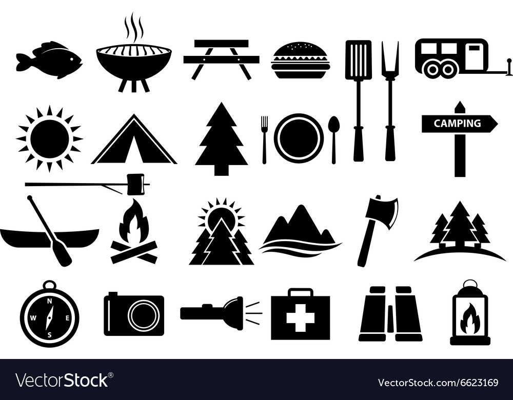 Camping and camp food icon set vector