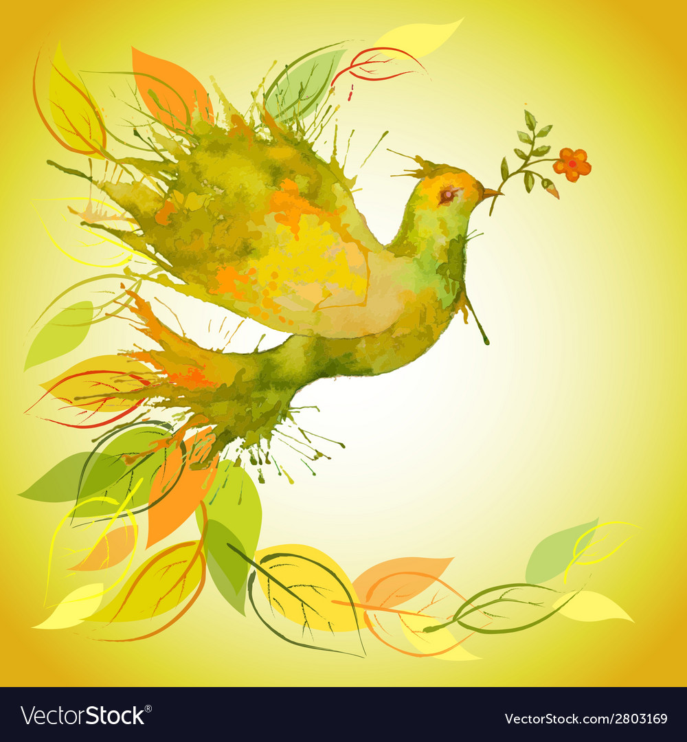 Green dove with flower branch and autumn leaves vector