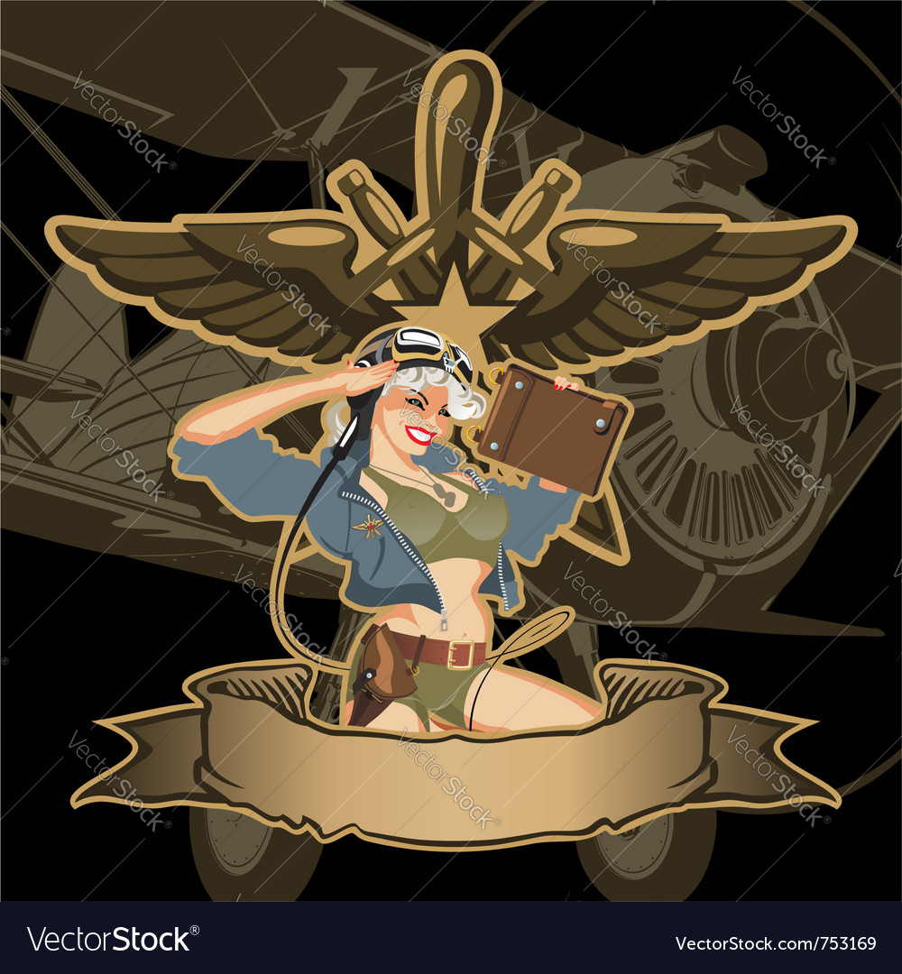 Retro military pinup vector