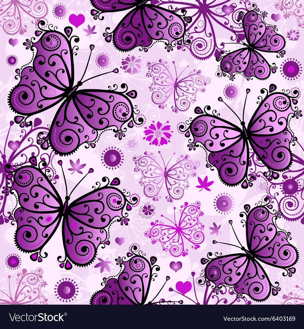 Seamless white pattern with violet butterfl vector