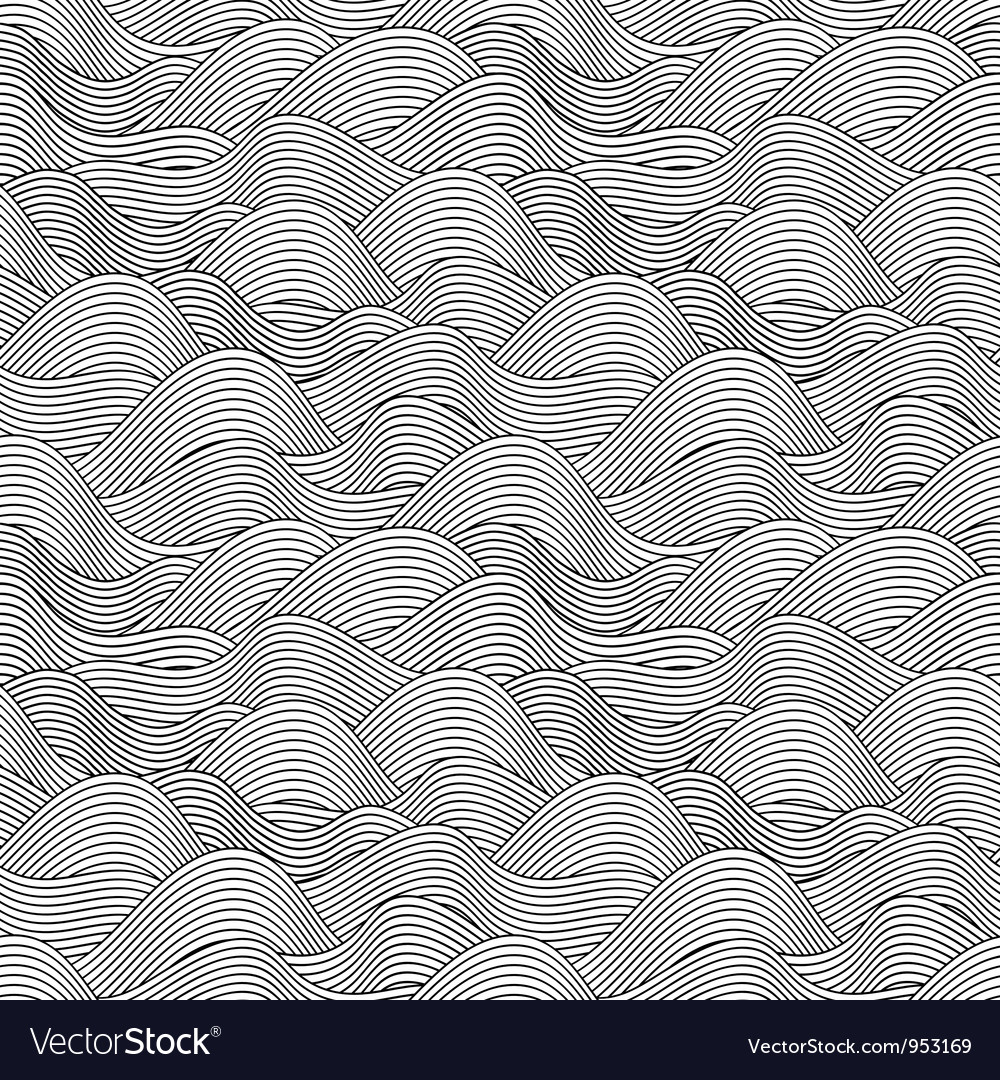 Wave sketch seamless pattern vector