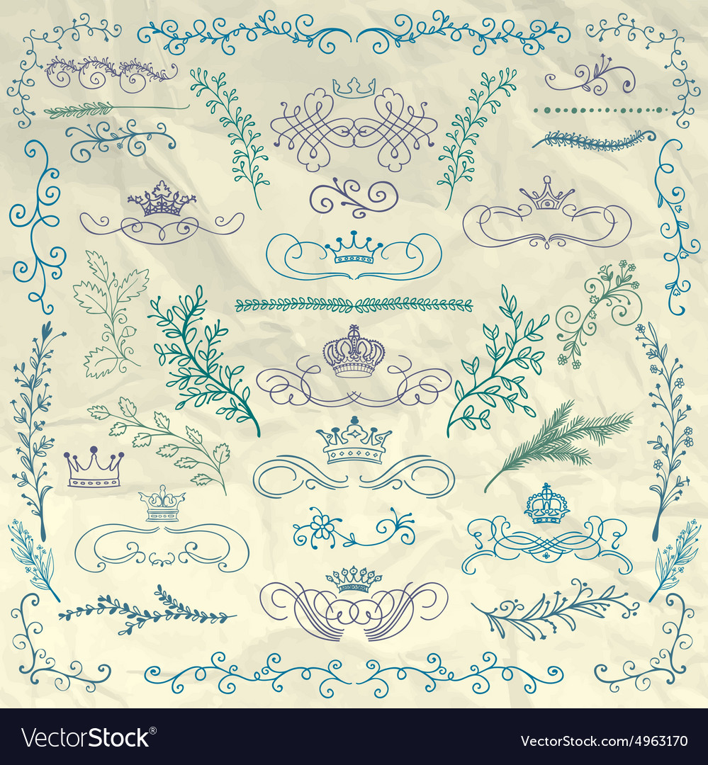 Floral design elements crowns on crumpled vector