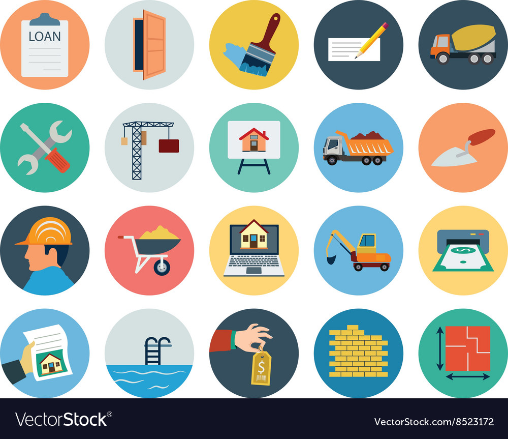 Flat real estate icons 3 vector