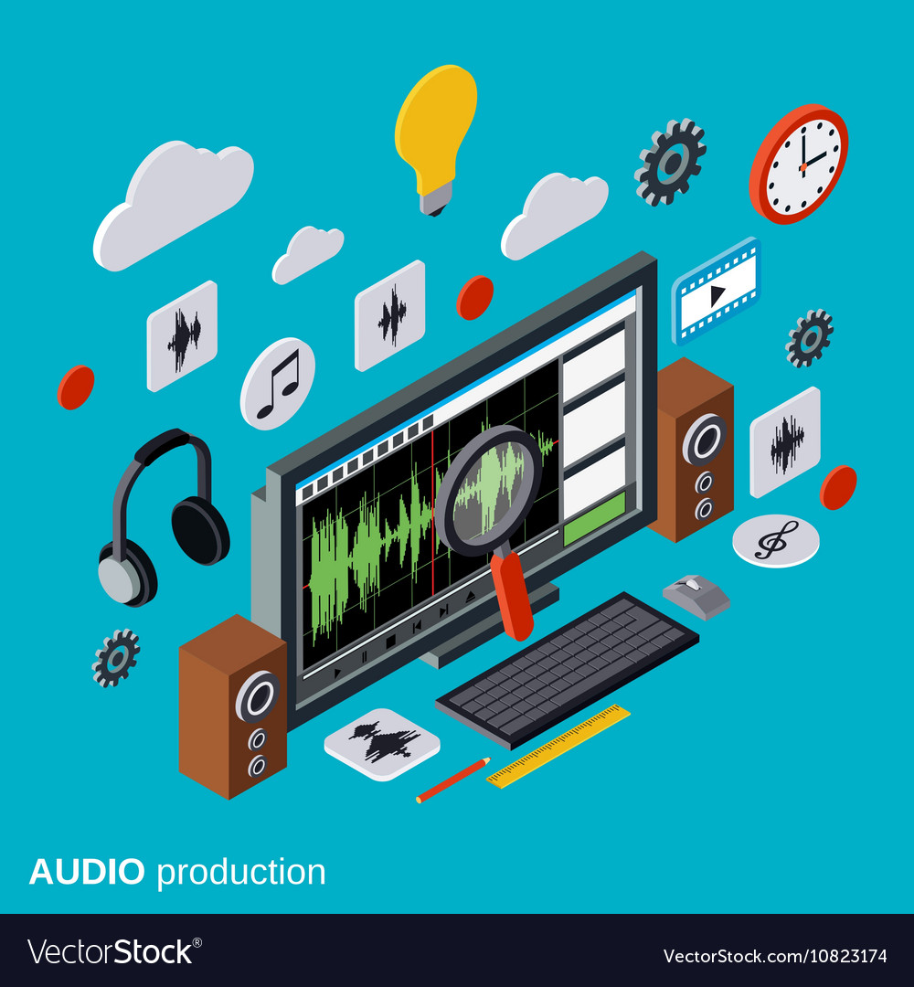 Audio production montage concept vector