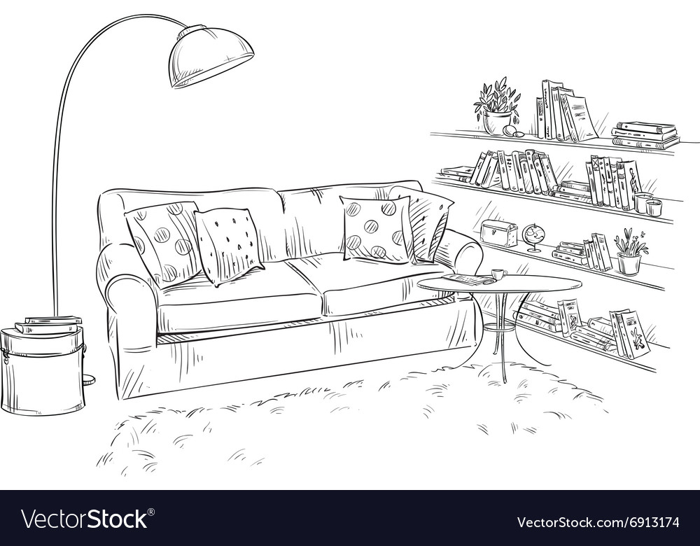 Comfortable sofa lamp and bookshelves vector